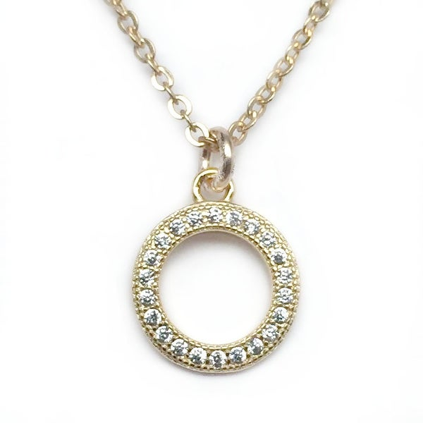 "Julieta Jewelry CZ Circle Gold Charm 16"" Necklace"