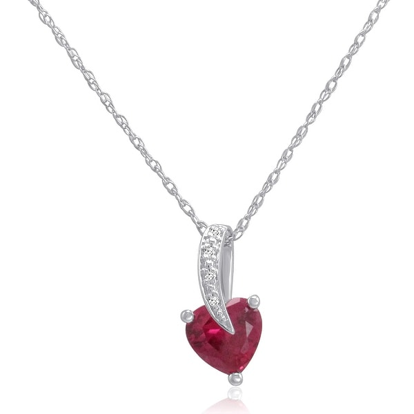 Amanda Rose Created Ruby Heart and Natural Diamond Pendant-Necklace in Sterling Silver