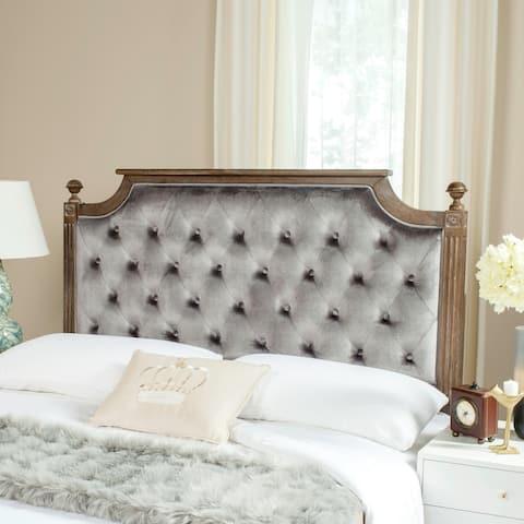 Safavieh Bedding Rustic Wood Grey Tufted Velvet Queen Headboard - Grey / Rustic Oak