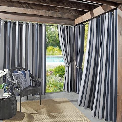 Sun Zero Valencia Cabana Stripe Indoor Outdoor Grommet Curtain Panel, Single Panel