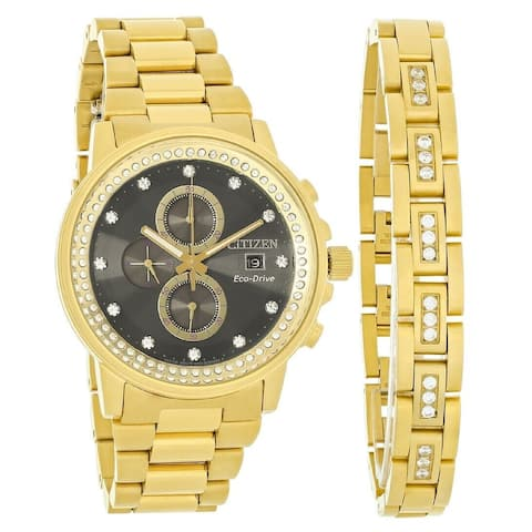 Citizen Men's FB3002-61E 'Nighthawk' Chronograph Gold-Tone Stainless Steel Watch - Black