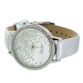 Geneva Womens Watch Silver Leather Band Lab Diamonds Quartz Movement Stainless Steel Back Analog Display