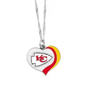Kansas City Chiefs NFL Glitter Heart Necklace Charm Gift