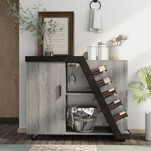 Furniture of America Tern Modern 5-Bottle Mobile Wine Cabinet