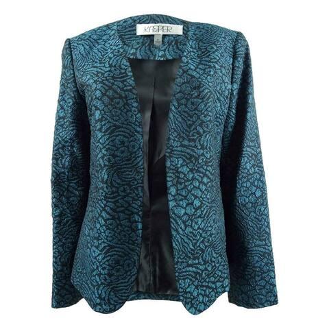 Kasper Women's Metallic Jacquard Animal-Print Jacket - Mallard/Black