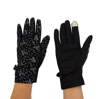 Women Anti-slip Finger Mittens Summer Outdoor Sun Resistant Gloves Black Pair