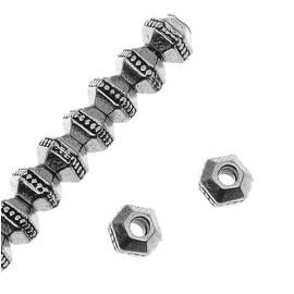 TierraCast Rhodium Plated Pewter Hexagon Rondelle Beads 3mm (50)