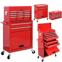 Costway Removable Top Chest Box Rolling Tool Storage Cabinet Sliding Drawers