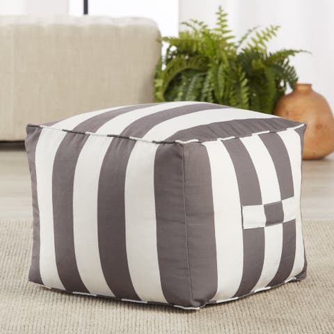 """Ozma Indoor/ Outdoor Striped Gray/ White Cuboid Pouf - 20""""X20""""X15"""""""