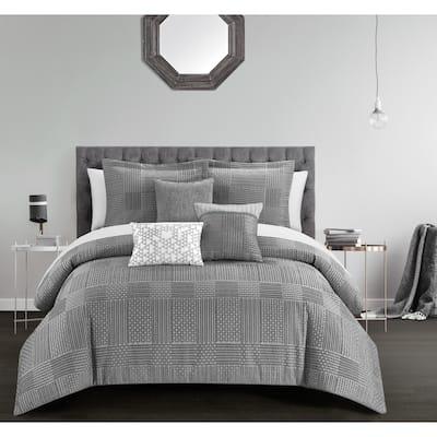 Chic Home Jodi 10 Piece Chenille Geometric Patterns Design Comforter, Grey