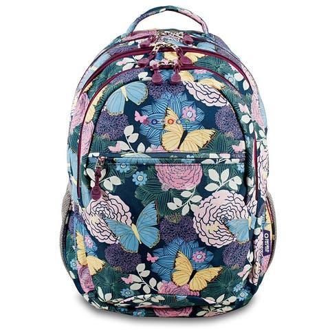 J World Cornelia Secret Garden Floral Multicolor Polyester Adjustable-strap Lined Campus Backpack