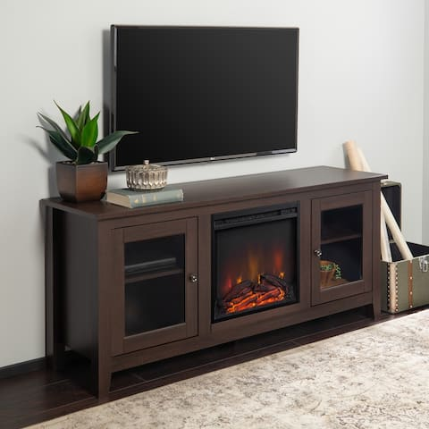 58-inch Espresso 2-Door Fireplace TV Stand Console