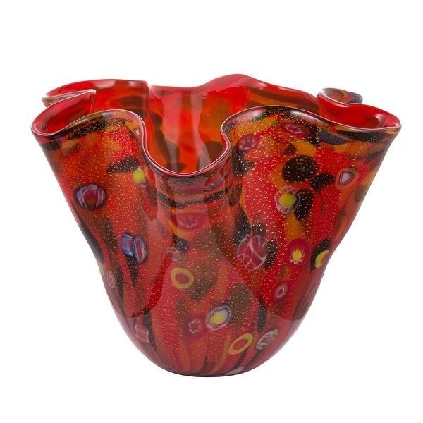 "11.75"" Vibrantly Colored Blown Glass Ripple Vase - N/A"