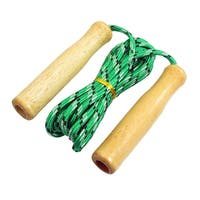 Unique Bargains 7.6ft Long Exercise Wooden Grip Green White Nylon Jumping Skipping Rope