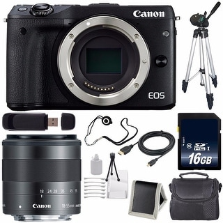 Canon EOS M3 Mark III 24.2 Mp Mirrorless Camera (International Model) (Black) + Canon EF-M 18-55mm f3.5-5.6 IS STM Lens Bundle