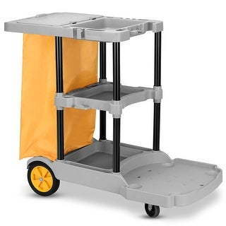 Gymax Commercial Janitorial Cleaning Cart 3 Shelf Housekeeping Ultility Cart Vinyl Bag