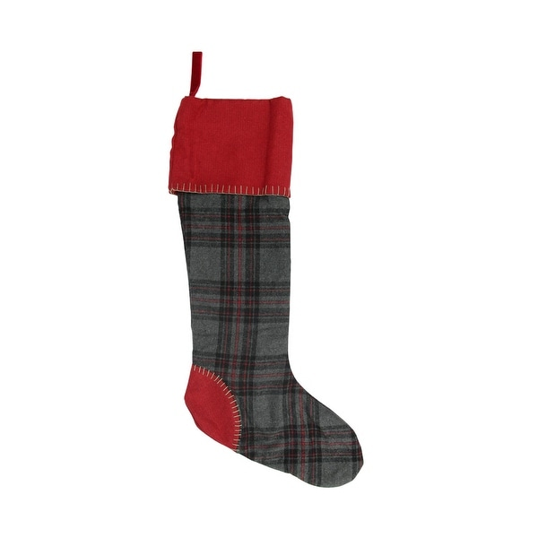 "28"" Rustic Chic Gray and Red Plaid Decorative Wool Christmas Stocking"