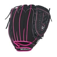 "Wilson Flash 11"""" Infield Youth Baseball Glove, Black/Pink, Right Hand Throw"