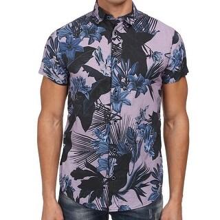 Armani Jeans NEW Purple Mens Size 2XL Button Down Floral Shirt