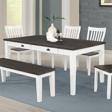 Copper Grove Bellevue Espresso and White 4-drawer Dining Table