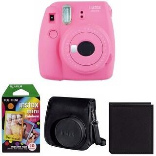 Fujifilm Instax Mini 9 (Flamingo Pink) Bundle with Rainbow Film Bundle