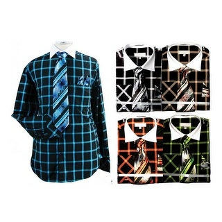 Men's Large Bold Check Cotton Shirt Tie Cufflink Set