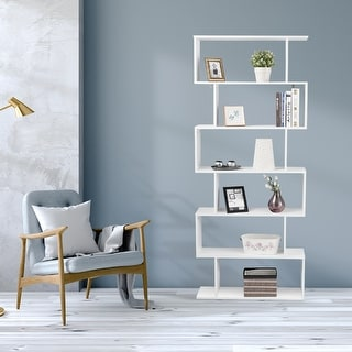Link to S-Shaped 6 Tier Room Dividing Bookcase Wooden Storage Display Similar Items in Bookshelves & Bookcases
