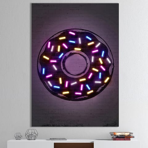 Designart 'Neon Sugar Fantasy Donut' Modern & Contemporary Canvas Art Print