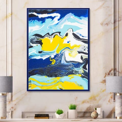 Designart 'Abstract Marble Composition In Yellow and Blue II' Modern Framed Canvas Wall Art Print