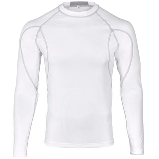 WICKED STOCK Men's Cool Dry Long Sleeve Compression Shirt Top FSF-2 - White