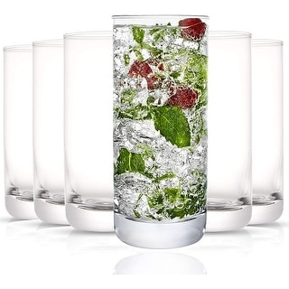 Link to JoyJolt Faye 13 oz Highball Glasses Set of 6 Drinking Glasses Similar Items in Glasses & Barware