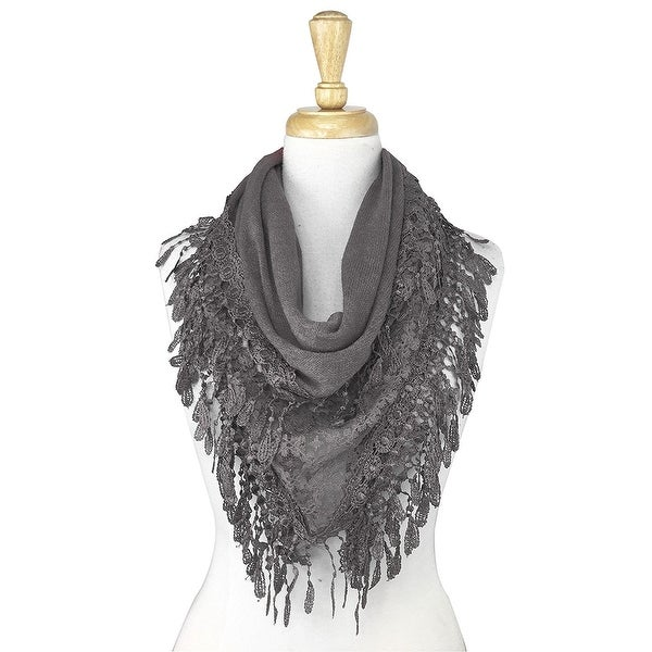 Women's Fancy Lace Fringes Triangle Scarf - gray