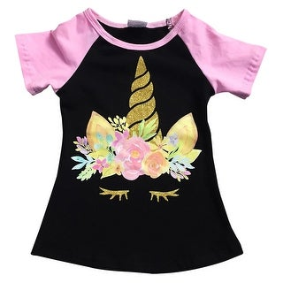Unicorn Print Black Tee T-Shirt Top for Little Girl Pink 201508