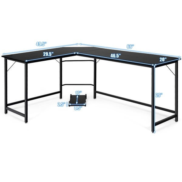 Modern L-shaped Open Office Computer Gaming Corner Desk