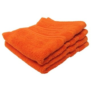 Feather and Stitch 2-Ply Wash Cloth, 13x13 Inches, Bright Orange