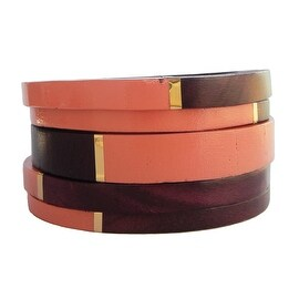 Helene Jewelry Magenta Wood & Coral Enamel Bangles with Gold Trim