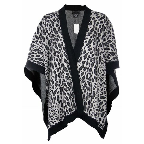 Sutton Studio Womens Merino Wool Leopard Poncho Wrap Misses