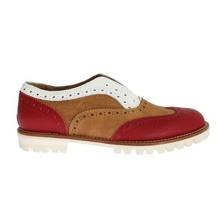 L'F Brown Red Wingtip Flat Broques Shoes - 37