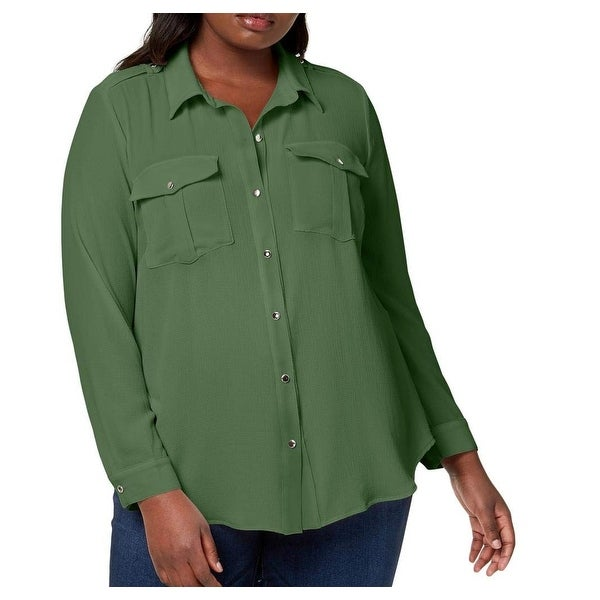 60b77fe3 Shop NY Collection Green Women's Size 1X Plus Utility Button Down Blouse - Free  Shipping On Orders Over $45 - Overstock - 27331452