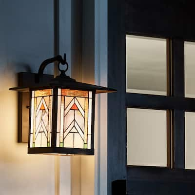 """River of Goods Terracotta Stained Glass and Oil Rubbed Bronze 1-Light Outdoor Lantern Wall Sconce - 10.75"""" x 9"""" x 11.75"""""""