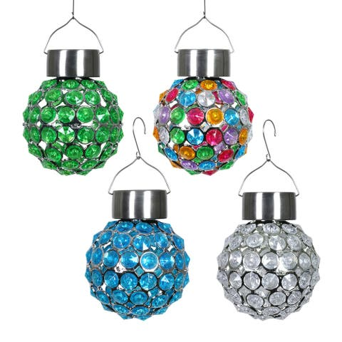 Exhart Solar Hanging Acrylic Ball Lights, Set of Four, 4 by 6 Inches