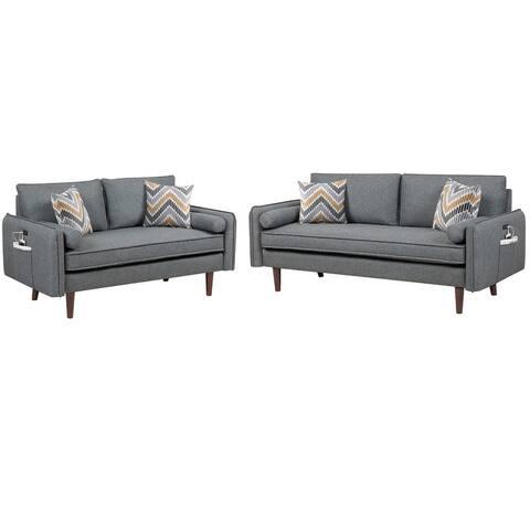 Carson Carrington Lugnas Modern Grey Linen Sofa and Loveseat Living Room Set