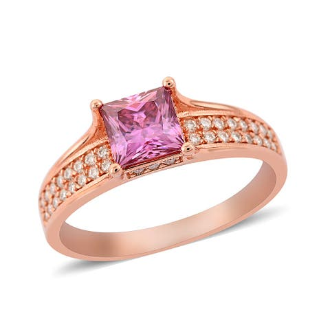 Shop LC Rose Gold Over 925 Sterling Silver Moissanite Ring Ct 1.5