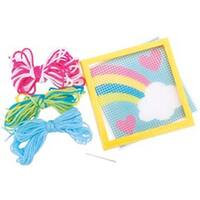"""6""""X6"""" Stitched In Yarn - Rainbow Learn To Sew Needlepoint Kit"""