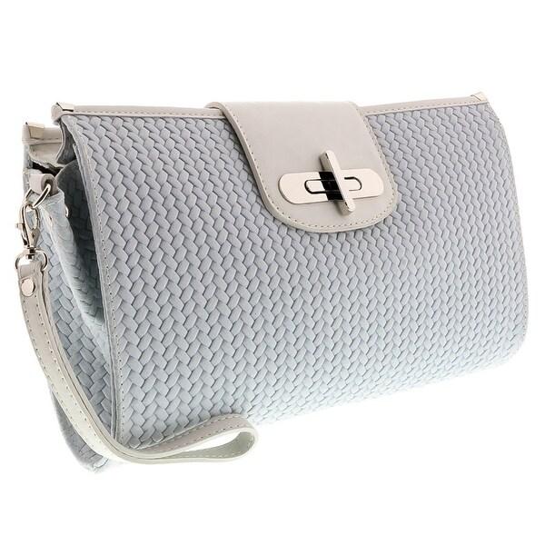 HS1156 BI CORA White Leather Clutch/Shoulder Bag - 13-8.5-2