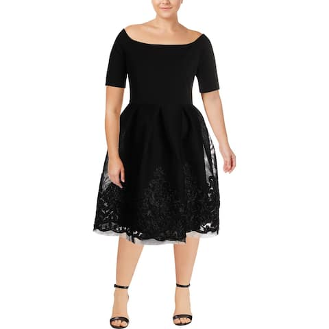 f515930bc4 Jessica Howard Womens Party Dress Off-The-Shoulder Knee-Length