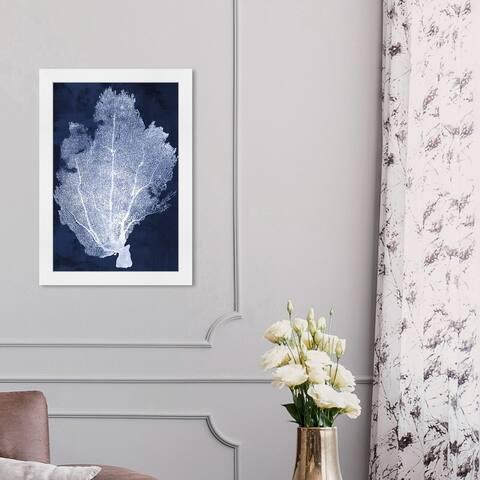Oliver Gal 'Coral Fan Cyanotype 2' Nautical and Coastal Framed Wall Art Prints Marine Life - Blue, White