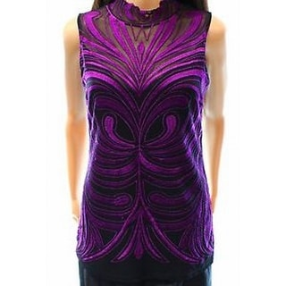 INC NEW Purple Black Embroidered Women's Size Small S Mesh Knit Top