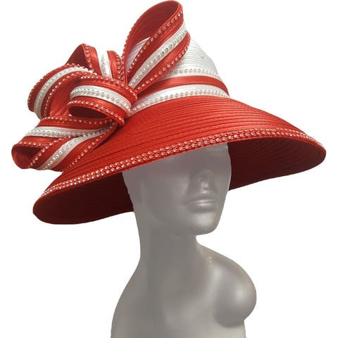 Two Tone designer couture Derby Satin Ribbon Hat