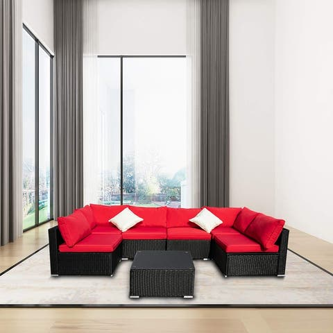 Ainfox 7-piece Red Rattan Wicker Patio Sectional Set Off-white/Red/Blue